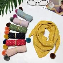 Милый детский шарф в горошек с треугольниками, осенне-зимний теплый хлопковый шарф, шаль ярких цветов для мальчиков и девочек, шарфы с воротником, шейный платок