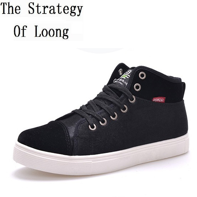2017 New Arrival Spring Autumn Winter Canvas Men Shoes Fashion Thick Warm High Top Lace Up Flat Heels Mens Shoes 141204 new 2017 spring autumn flats men canvas shoes fashion mens casual shoes thick sole classic black white lace up brand th027