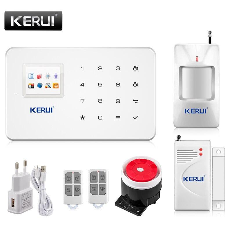 Kerui G18 Встроенная антенна сигнализация PIR детектор движения Беспроводной дыма вспышки Siren ЖК-дисплей GSM sim-карты дом охранной сигнализации