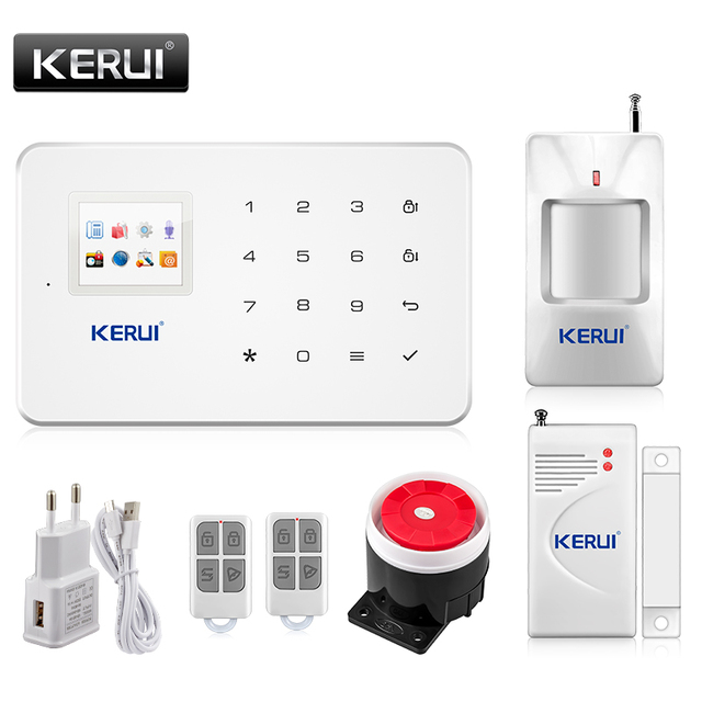 Best Price Kerui G18 Built-in antenna alarm PIR Motion Detector Wireless Smoke Flash Siren LCD GSM SIM card House security Alarm system