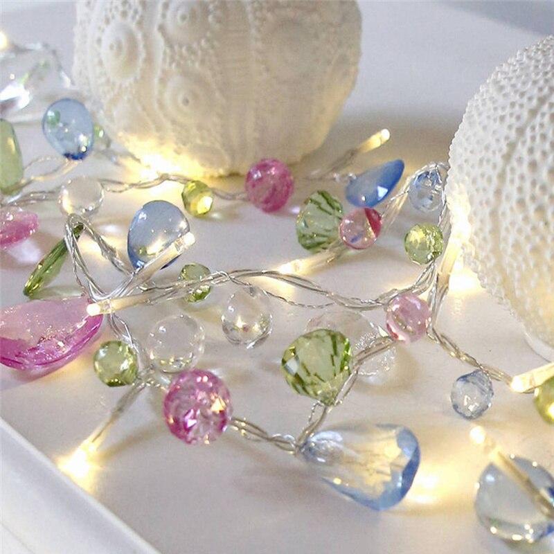 European Crystal Colored Gemstones String Light Beaded Lamp Garden Wedding Christmas Party Supplies Home Decor In