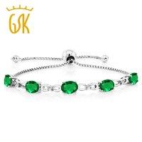 5 00 Ct Simulated Emerald Diamond 925 Sterling Silver Adjustable Tennis Bracelet