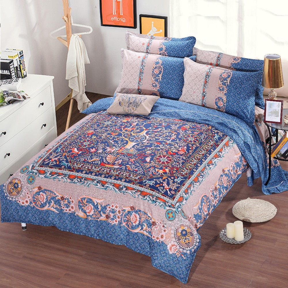 Hot European Bohemian Style Printed bedding Set Coverlets Cotton Bed Duvet Cover Adults Bedroom Decor Full Queen size Woven BlueHot European Bohemian Style Printed bedding Set Coverlets Cotton Bed Duvet Cover Adults Bedroom Decor Full Queen size Woven Blue