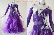 Ballroom Dance Costume For Women Stage Purple Tango Flamenco Waltz Modren Ballroom Competition Dancing Dresses