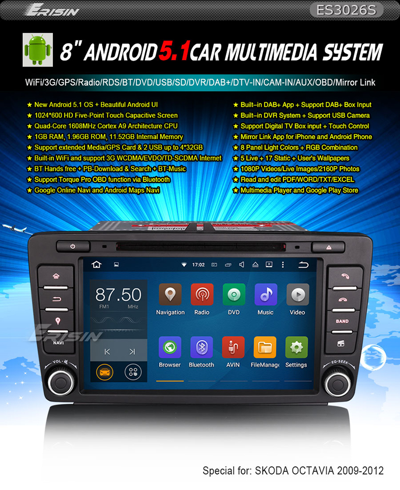 "Erisin ES3026S 8"" Android 5.1 Car DVD GPS DAB+ for SKODA OCTAVIA"
