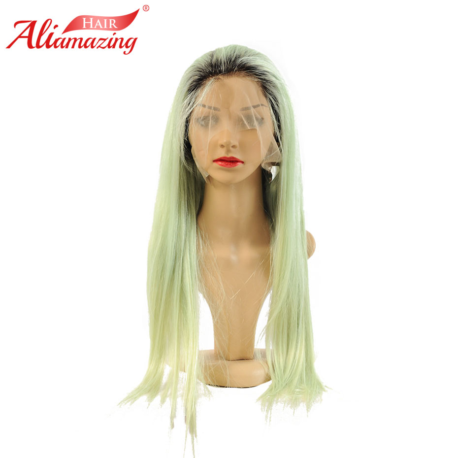 Ali Amazing Hair Lace Front Human Hair Wigs For Women Black Roots Green Preplucked Hairline Brazilian Remy Lace Wig ...