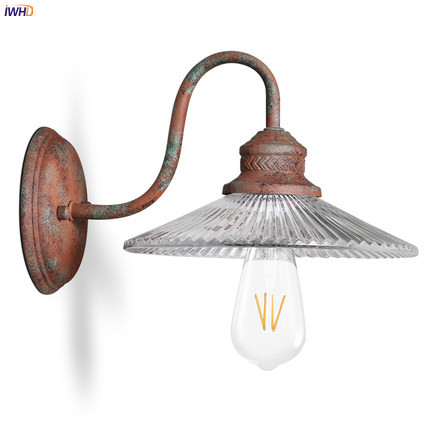 IWHD Glass Antique Vintage Wall Lamp Beside Home Outdoor Lighting Aisle Industrial Retro Wall Light LED Edison Style AmericanIWHD Glass Antique Vintage Wall Lamp Beside Home Outdoor Lighting Aisle Industrial Retro Wall Light LED Edison Style American