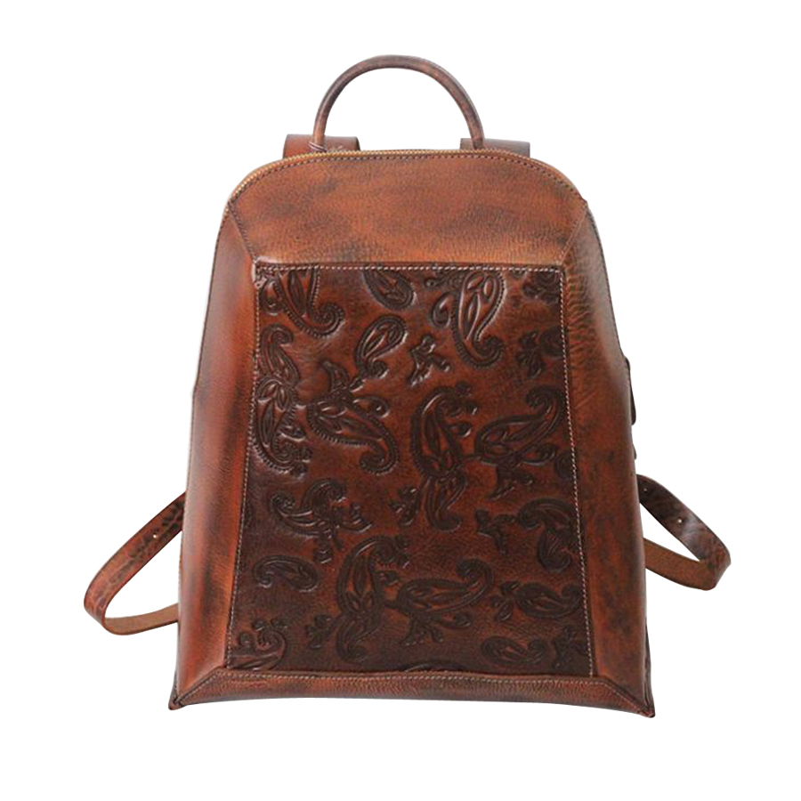 Women Backpack Genuine Leather Mochila School Bags Vintage travel bag women knapsack packsack backpacks  Feminina 2017 ethnic embroidered flower print backpacks women bags genuine leather backpack school bag sac a dos travel mochila feminina