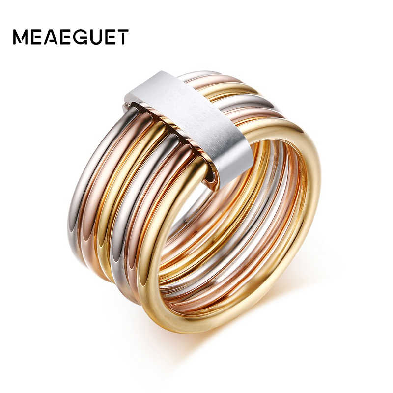 Women's Unique Rings Stainless Steel 6 Circle Interlocked Stacked 10MM Wide Statement Party Bijoux Accessories