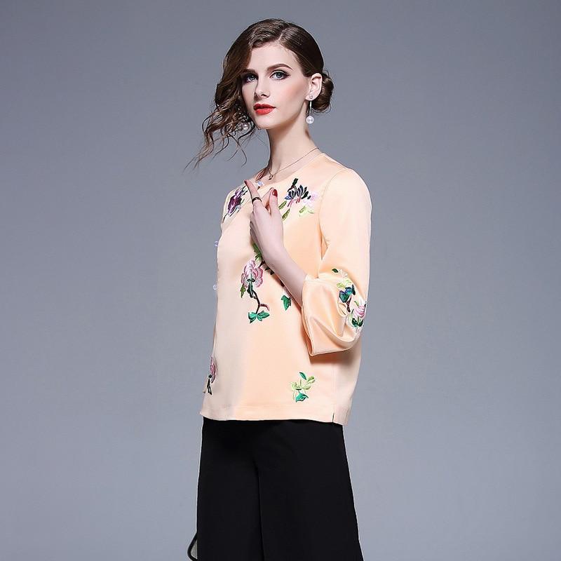 Rond Vintage Pankou black Trois quarts Fleur Manches Femmes Broderie Court Chinois orange Col Tops 2019 Printemps Apricot Style 4RLA5j