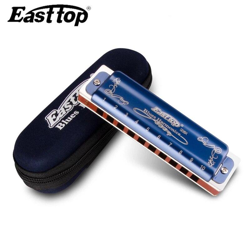 Easttop profissional t008k gaita diatônica 10 buracos armônica blues instrumentos musicais armonicas boca ogan easttop blues