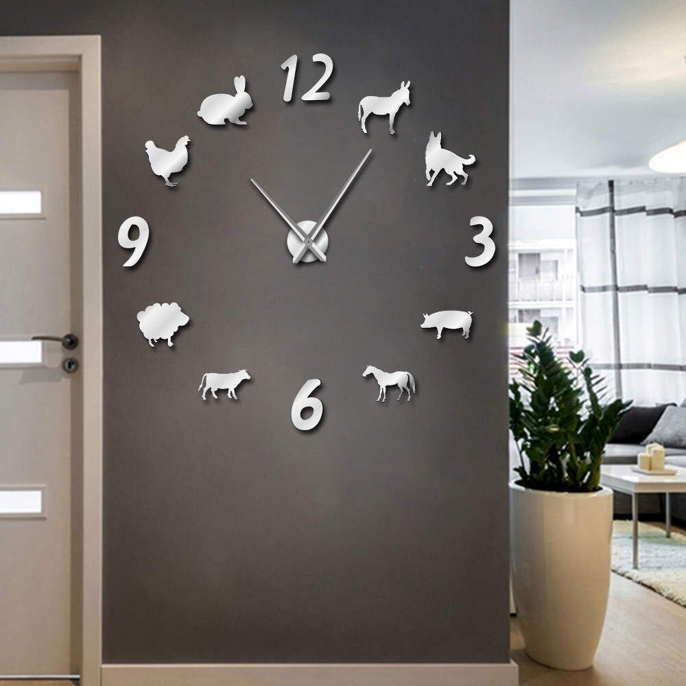 1 Stück Wald Bauernhof Tier DIY Große Wanduhr Schwein Schaf Schwein rahmenlose Riesen Wand Uhr 3D Großen Spiegel Wandaufkleber Farmer Geschenk
