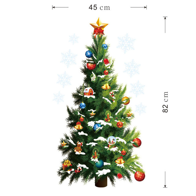 Large Christmas Wall Stickers Removable Art Decals Christmas Tree Decoration Adesivos De Natal Party Supplies