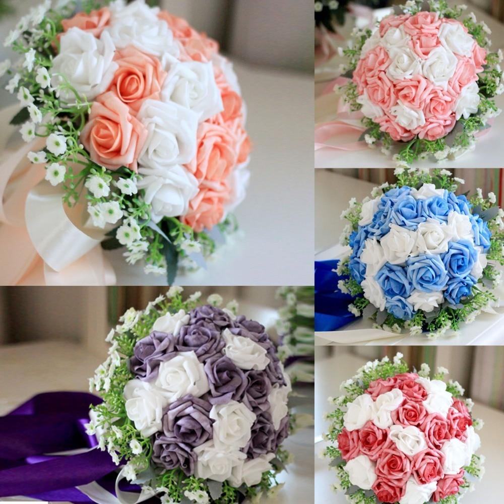 Wholesale artificial bridal bridesmaid flower bouquet holder rose ...