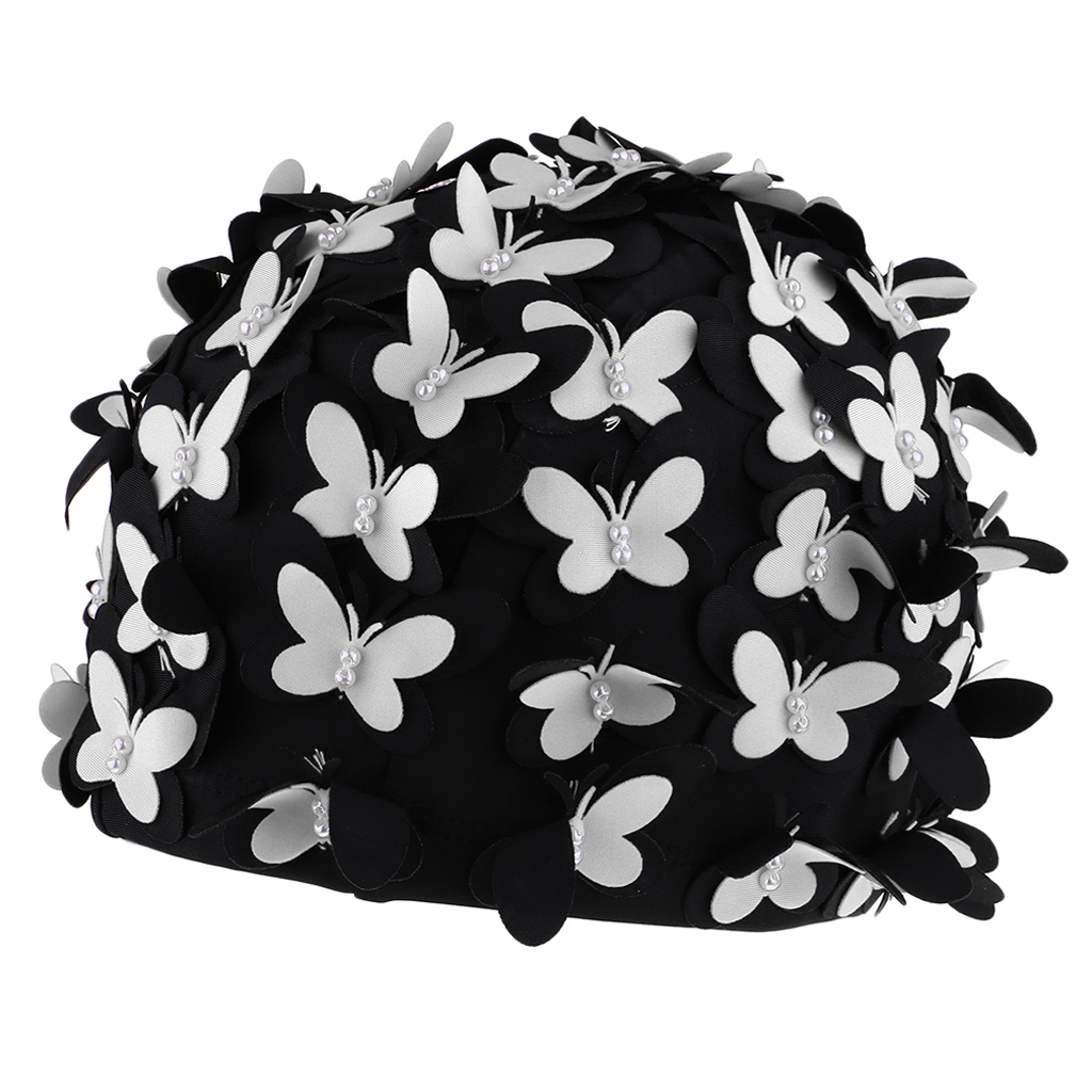 Swim Cap Women Stylish Retro Swimming Cap with Butterflies Pearls Decor for Long Hair Ladies Keep Hair Dry in Swimming Caps from Sports Entertainment