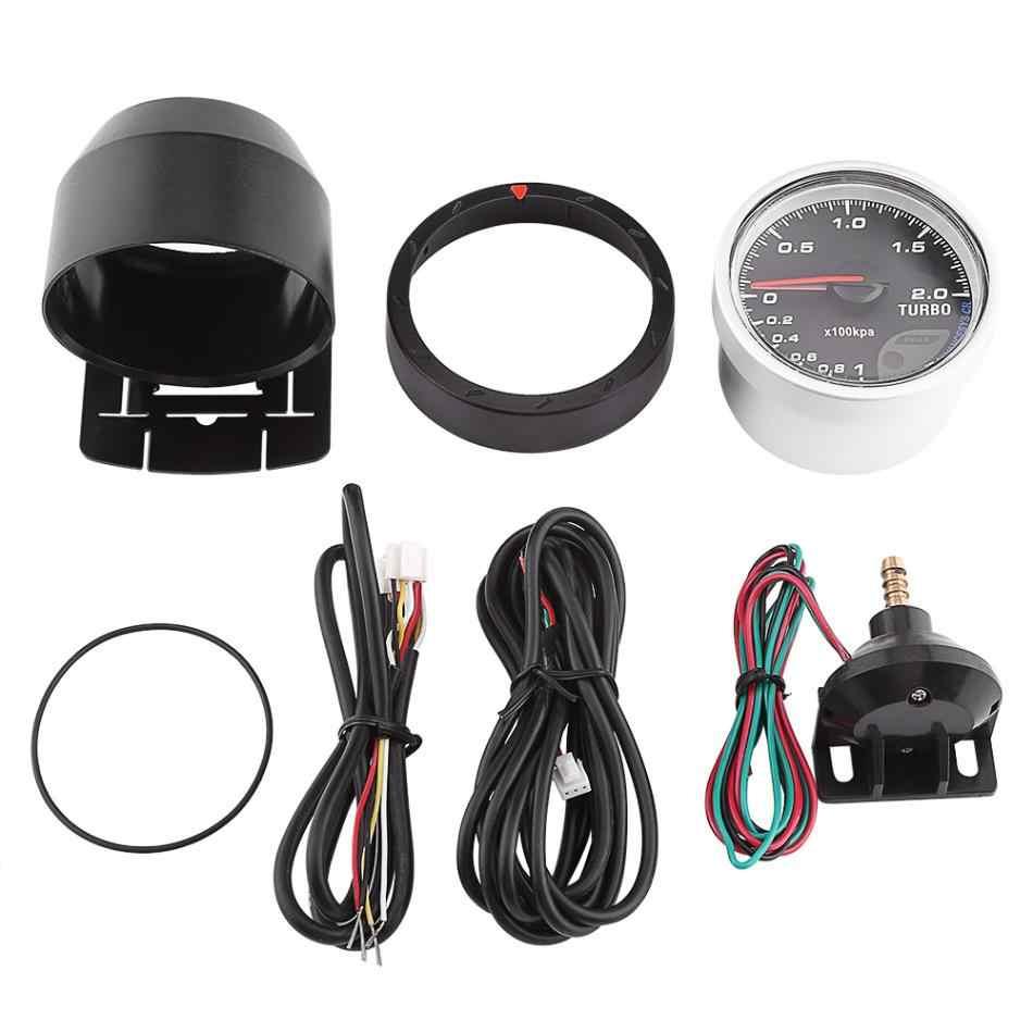 60mm Universal LED Turbo Gauge Boost Meter Car Boost Gauge Vacuum Press Black Shell Universal for Auto Racing Car 0-200 Kpa