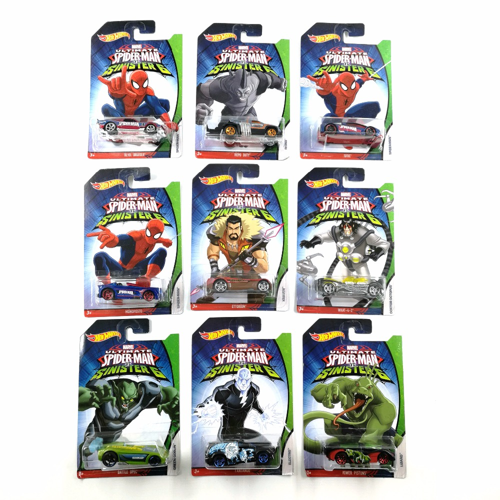 Hot Wheels Car MARVEL Ultimate Spider Man Sinister6 Collector's Edition Metal Diecast Cars Kids Toys Vehicle For Gift 10pcs/set ultimate spider man ultimate collection book 4