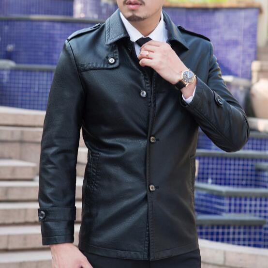Hot 2018 New Autumn Winter Casual Mens Leather Jackets And Coats Locomotive Style Men turn-down collar Leather clothes M-XXXL