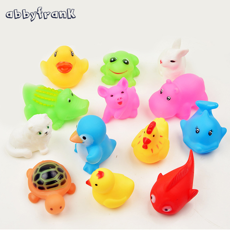 Abbyfrank 13pcs lot Bath font b Toy b font Kids Rubber Float Squeeze Sound font b