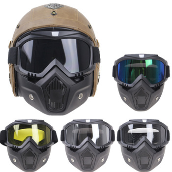 Motorcycle Glasses Motocross Motorbike Moto Goggles Detachable Goggle UV Protection Ski Bike for Halley Open Face Helmet Mask