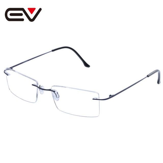Hombre de la manera de las mujeres sin rebordes titanium de los vidrios claros de lente óptica gafas de marco de titanio gafas sin montura marco ev1353