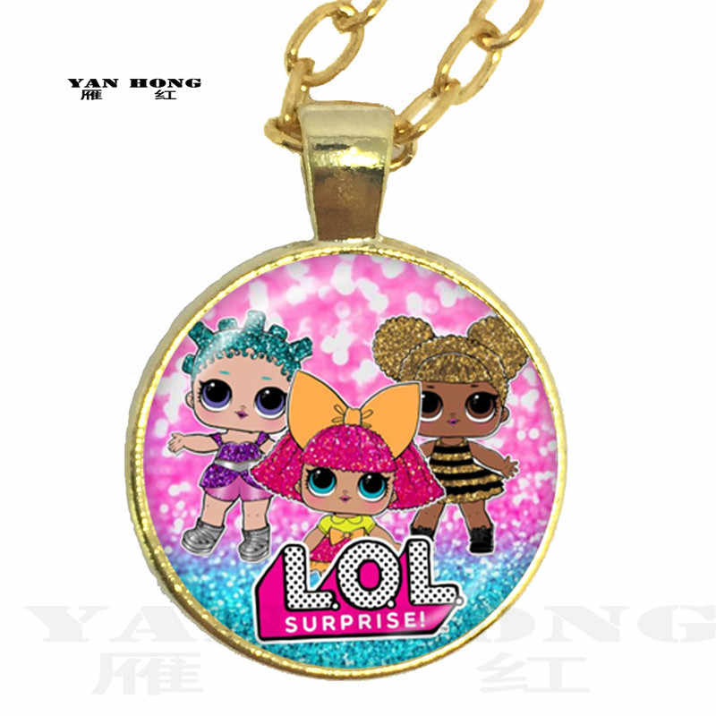 Cartoon Doll Fashion glass crystal necklace, 25MM cartoon doll necklace. It's the best birthday gift for children.