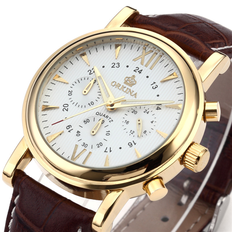 где купить  ORKINA Male Clock Gold Tone Stainless Steel Case Men Wristwatch Japan Movement Quartz Watch Stopwatch Chronograph Heren Horloges  по лучшей цене