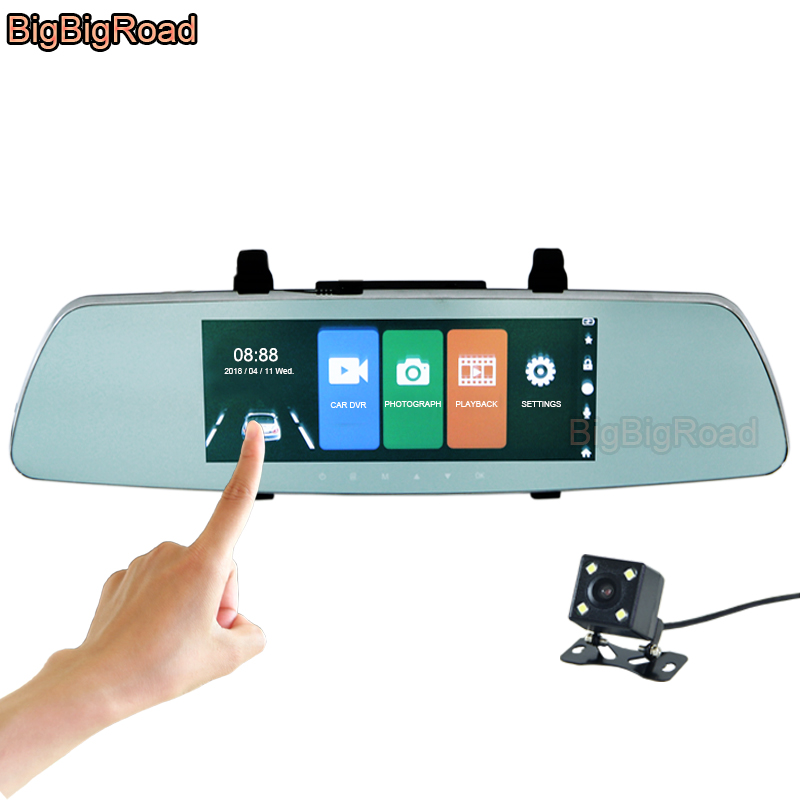 BigBigRoad Car DVR 7 Inch IPS Touch Screen Rear View Mirror Video Recorder Dash Cam Dual Lens Camera Parking Monitor FHD 1080P bigbigroad for chevrolet orlando car rearview mirror dvr video recorder dual cameras novatek 96655 5 inch ips screen dash cam