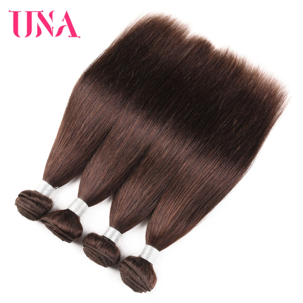 UNA Hair Brazil Weaves 4 Bundles Deal Color # 4 Straight Hair Weave - Rambut manusia (untuk hitam)