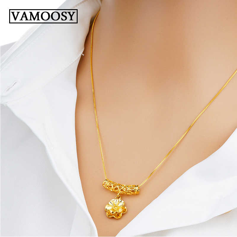 100% 24K Gold Pendants & Necklaces for Women No Fading/No Allergies Flower Style Without Chain Free Shipping