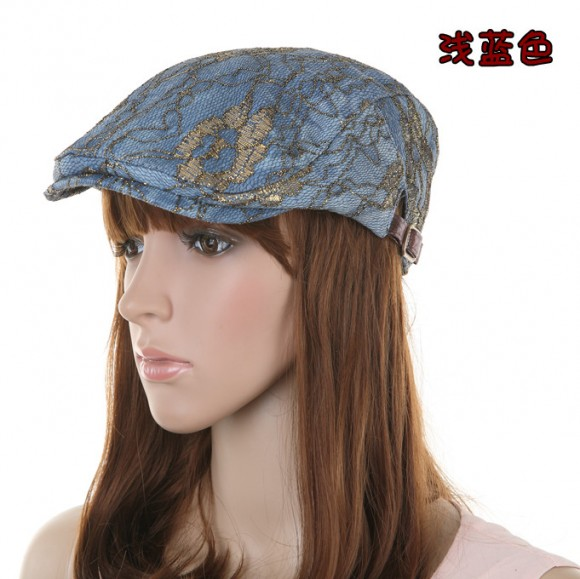 e315313ee US $24.02 |Autumn Winter Fashion women's edwa fashion beret with gold wire  personalized forward cap sun shading casual hat-in Berets from Apparel ...