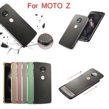 For Motorola MOTO Z XT1650-05 Case Aluminum Metal Frame+Carbon Fiber Hard Back Cover for MOTOZ 5.5