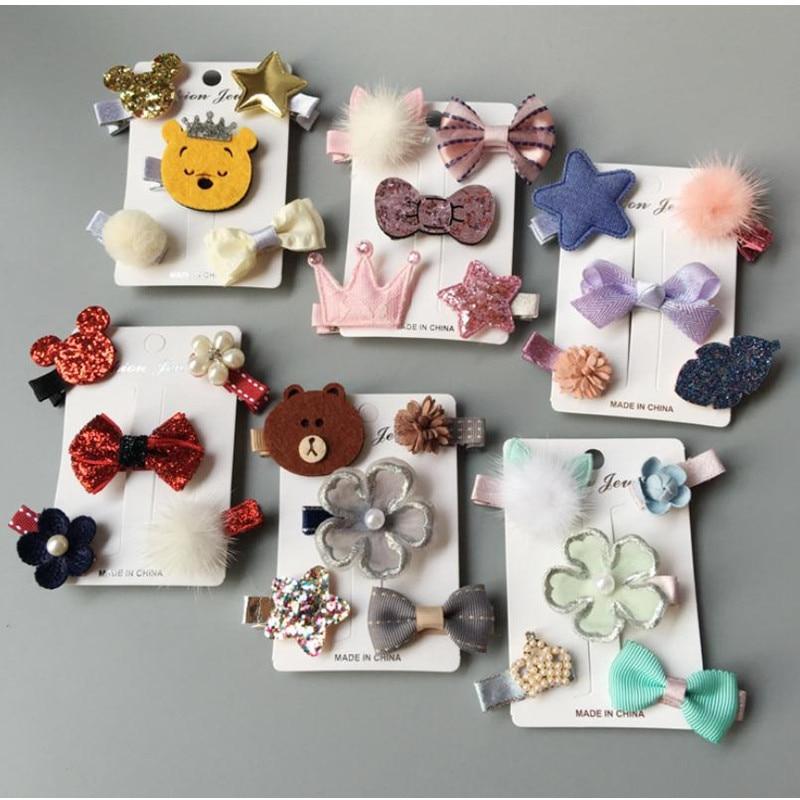 5-6pcs/set children girls hair Accessories hair bows Pompom animal crown flower hair clips for girls Barrettes kids headdress