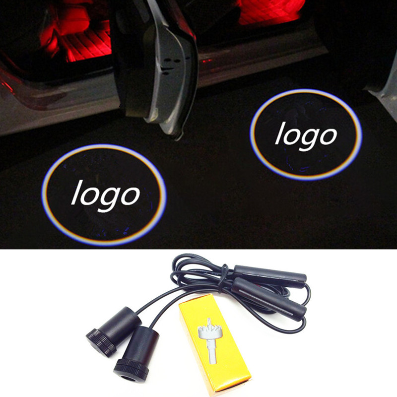цена на 2 X car door light ghost shadow welcome light logo projector emblem For hyundai ix35 solaris i30 accent