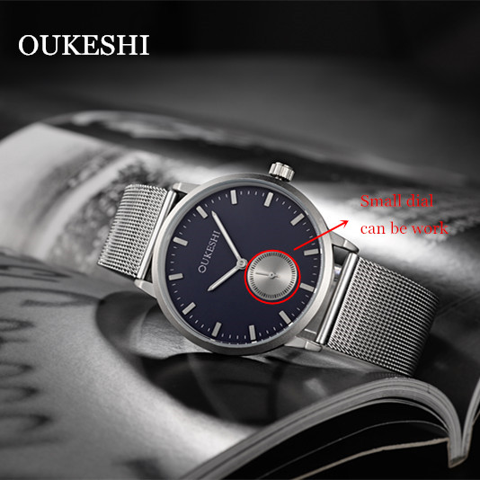 New OUKESHI Top Luxury Watch Men Brand Men's Watches Ultra Thin Stainless Steel Mesh Chronograph Quartz Wristwatch Male Watches skmei new top luxury watch men brand men s watches ultra thin stainless steel mesh band quartz wristwatch fashion male watches