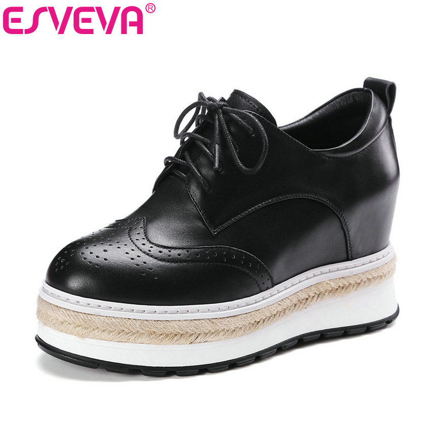 ESVEVA 2017 Lace Up Real Leather Shoes New Women Pumps Spring Autumn Shoes Wedges High Heel Round Toe Platform Pumps Size 34-39 genuine cow leather spring shoes wedges soft outsole womens casual platform shoes high heel round toe handmade shoes for women