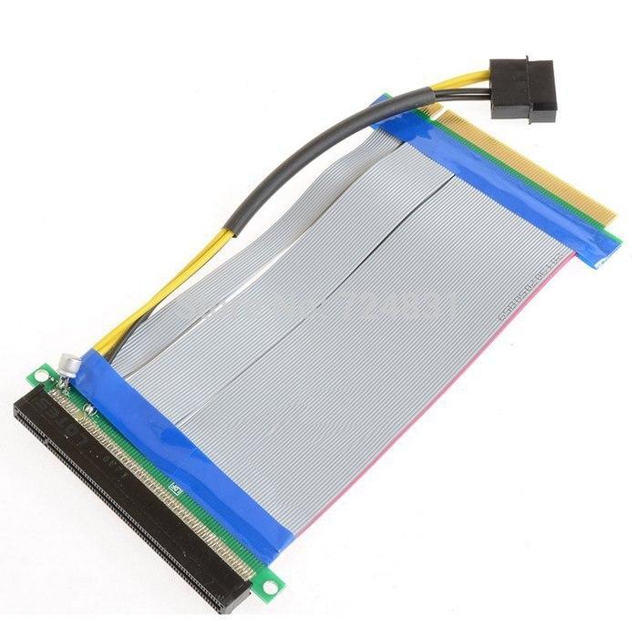 10 pcs/lot carte d'extension de colonne montante Cablecc PCI-E Express 16X à 16x avec câble d'alimentation et ruban Molex IDE 20cm
