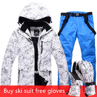 2019 New Men And Women Waterproof Ski Suit Mountain Skiing Suit For Men Thicken Warm Ski Snow Jacket+Snowboard pant Ski Set