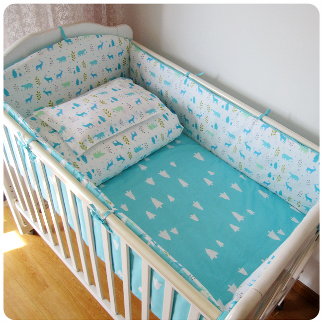 Promotion! 9PCS Whole Set Baby bedding sets 100% cotton baby bedclothes bumpers,4bumper/sheet/pillow/duvet
