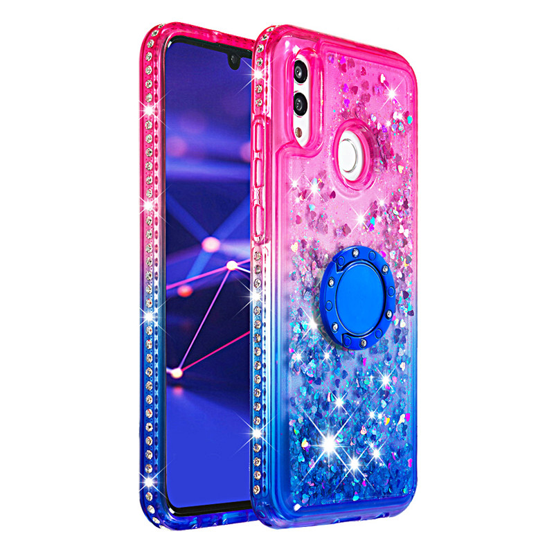 Diamante di Bling Liquido Sabbie Mobili Custodie per Huawei Compagno di 20 pro Compagno di 20 lite Titolare Anello Gradiente Posteriore Coque per Huawei honor10 lite - 5