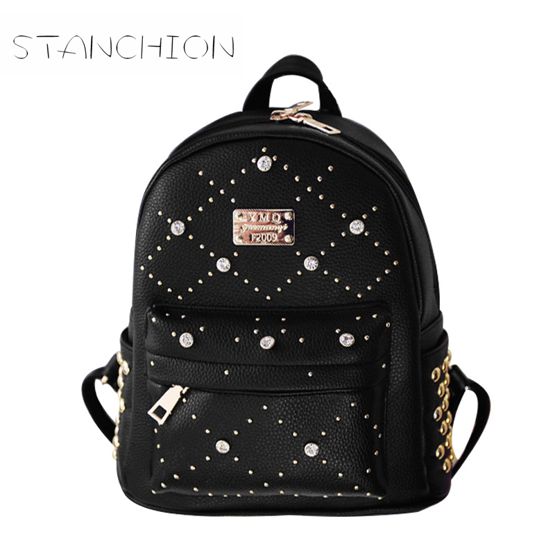 Backpack Faux Leather Women Daily Solid Zipper Travel Casual For Girls School Small Vintage Multifunction Ladies