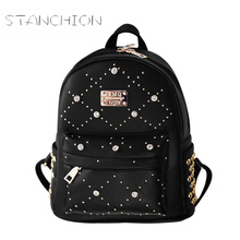 Backpack Faux Leather Women Daily Solid Zipper Travel Casual For Girls School Small Vintage Multifunction Ladies Shoulder Bag