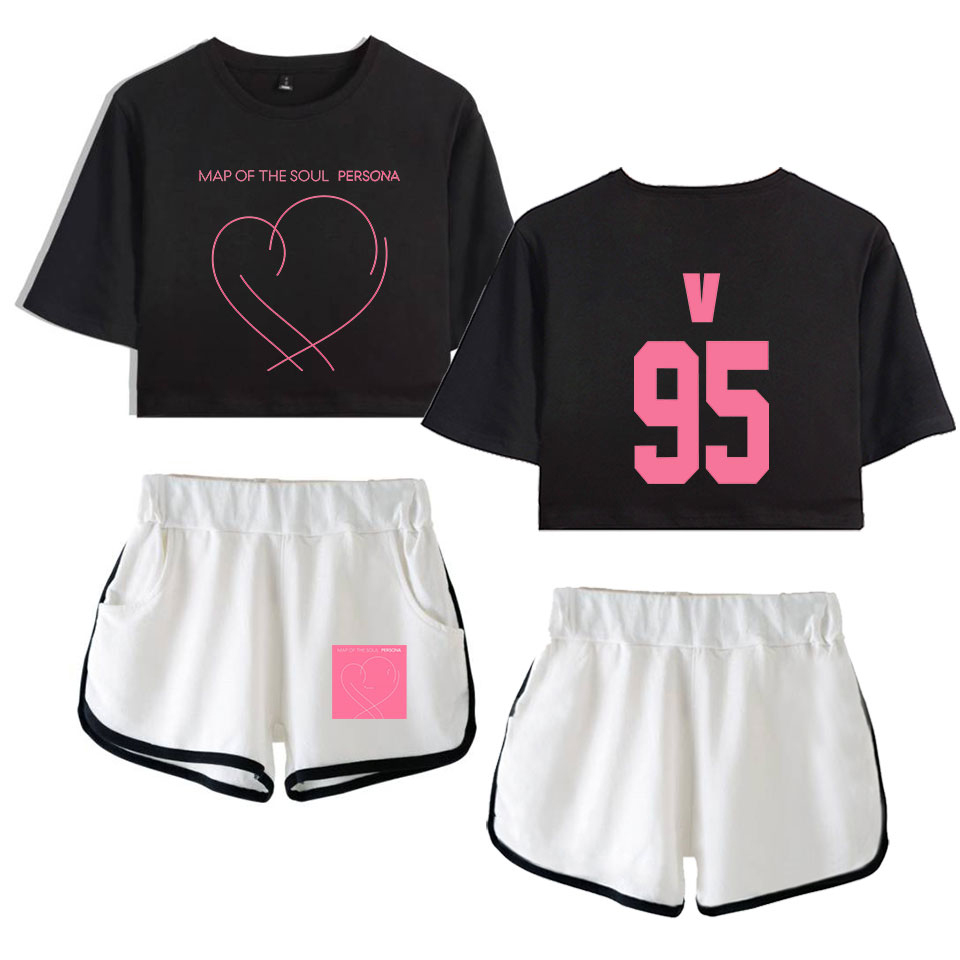 BTS Crop Top + Shorts (Two-Piece Outerwear)