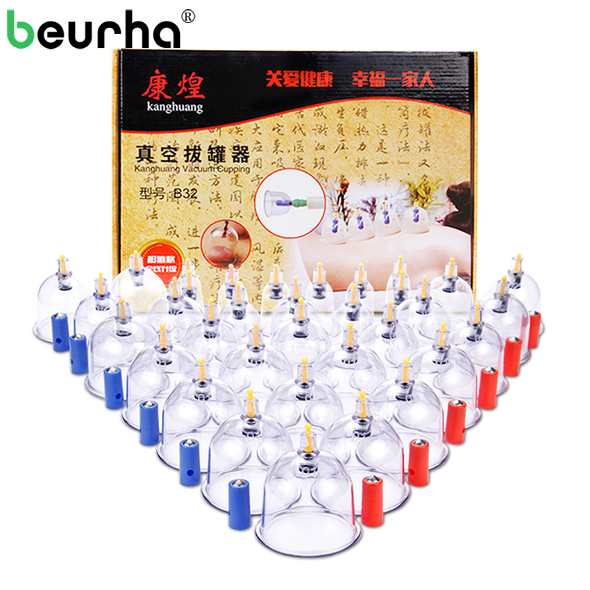32PCS/Set Medical Vacuum Cupping With Suction Pump Suction Therapy Device Set Herapy Kit Body Relaxation Healthy Massage Care ...
