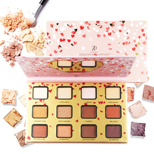 ZD 12 Colors Matte Eyeshadow Palette With Mirror Maquiagem Pink Color Palettes Eye Shadow Makeup Paleta De Sombra F2128 zd 14 colors nudes shimmer satin matte eyeshadow palette maquiagem paleta de sombra baked powder eye makeup beauty f2123