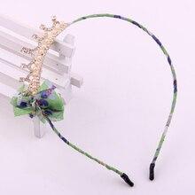 Fashion crown hair accessories for girls floral print chiffon ribbon knot pearl crystal clip rhinestone hairband tiaras bow