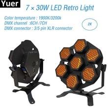 2Pcs/Lot 7x30W LED Retro Flash Stage Lights Laser Projector Effect Light DJ Equipment Party Club KTV Disco Stage Effect Light стоимость