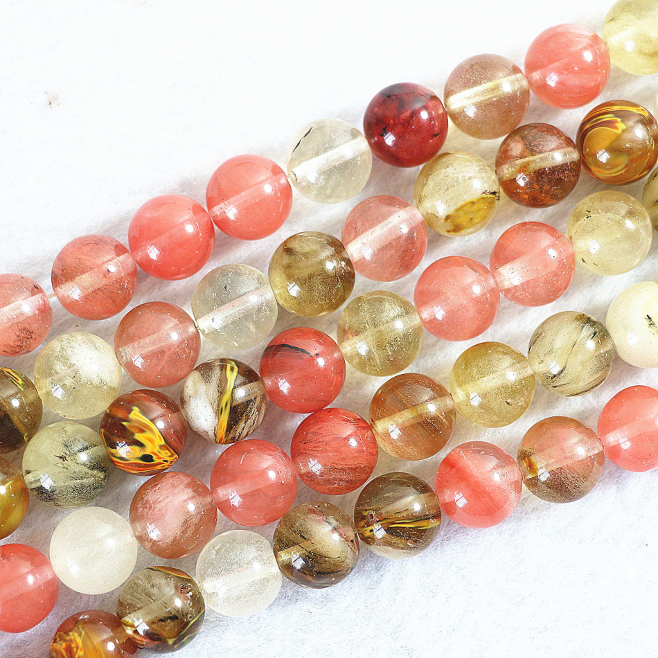 Charming multicolor fashion <font><b>watermelon</b></font> <font><b>tourmaline</b></font> <font><b>stone</b></font> jasper4 6 8 -14mm crystal round loose beads jewelry making 15inch BV187 image