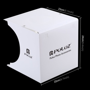 Image 3 - PULUZ 20*20cm 8 Mini Folding Studio Diffuse Soft Box Lightbox With LED Light Black White Photography Background Photo Studio box