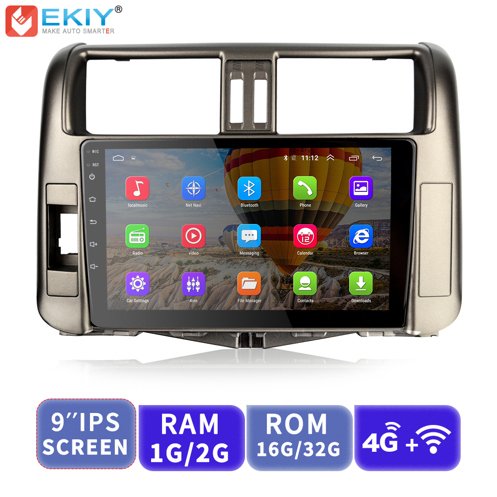 EKIY 9 ''IPS No 2 Din lecteur multimédia de voiture Android AutoRadio stéréo GPS Navigation pour Toyota Land Cruiser Prado 150 2010-2013